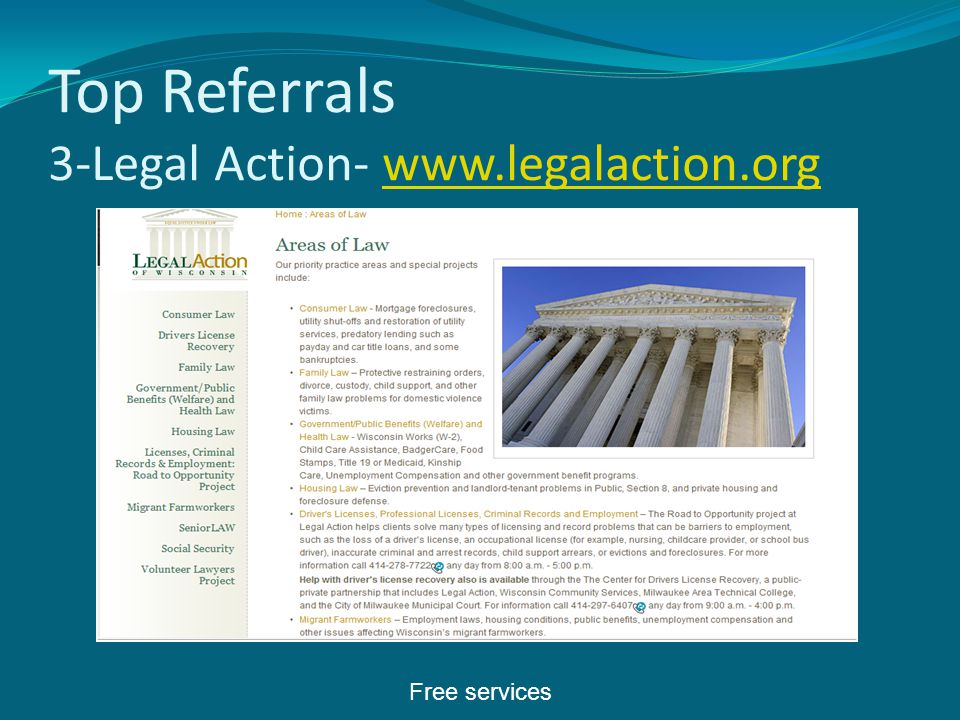 Top Referrals 3-Legal Action- www.legalaction.orgwww.legalaction.org Free services