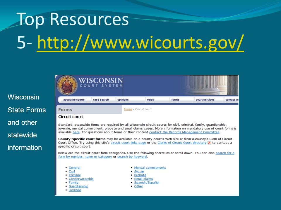 Top Resources 5- http://www.wicourts.gov/http://www.wicourts.gov/ Wisconsin State Forms and other statewide information