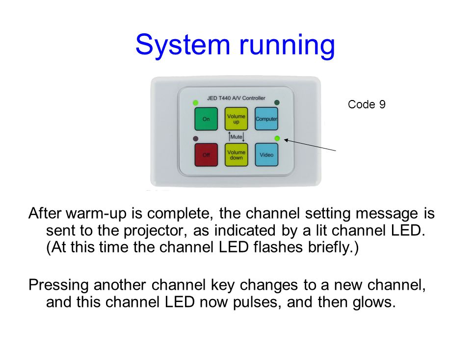 System running After warm-up is complete, the channel setting message is sent to the projector, as indicated by a lit channel LED. (At this time the c