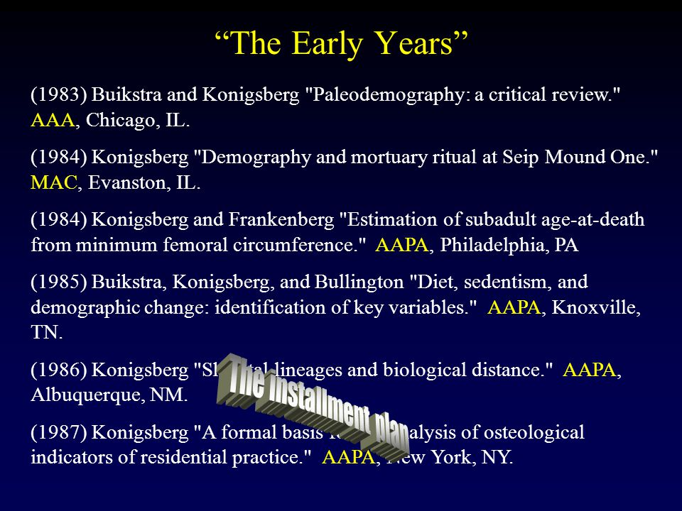 The Early Years (1983) Buikstra and Konigsberg Paleodemography: a critical review. AAA, Chicago, IL.
