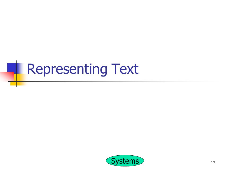 Systems 13 Representing Text