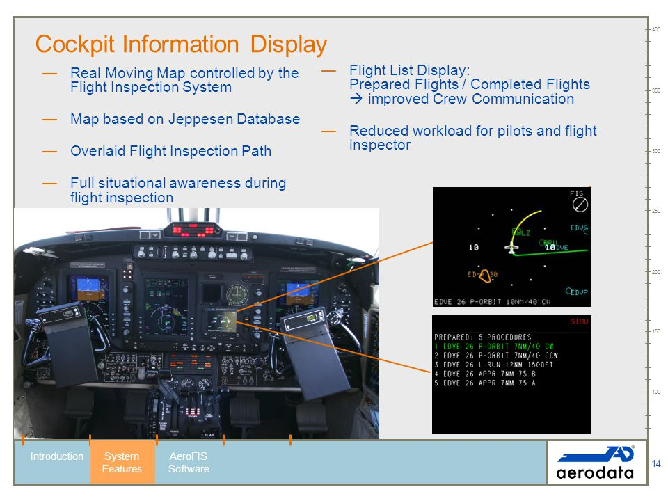 14 Cockpit Information Display Real Moving Map controlled by the Flight Inspection System Map based on Jeppesen Database Overlaid Flight Inspection Pa