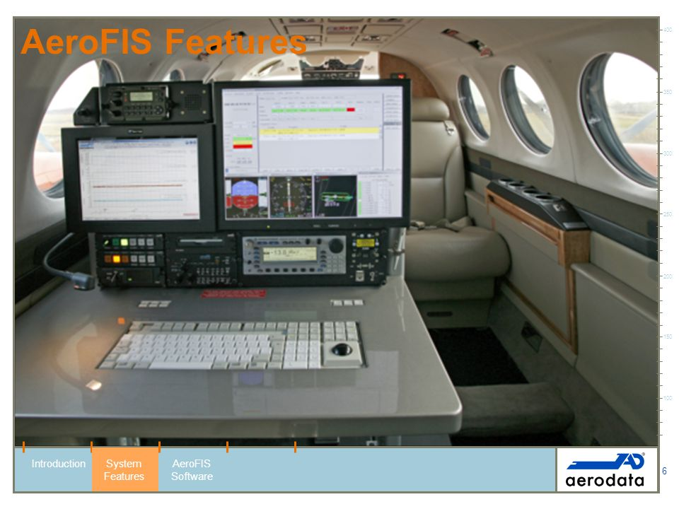 6 AeroFIS Features 100 150 200 250 300 350 400 IntroductionSystem Features AeroFIS Software