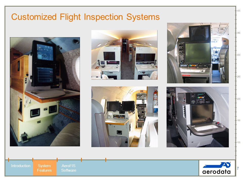 8 100 150 200 250 300 350 400 Customized Flight Inspection Systems - Exclusive Design - IntroductionSystem Features AeroFIS Software