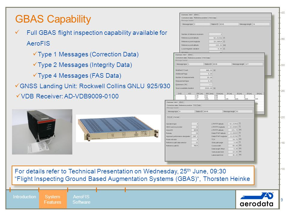 9 100 150 200 250 300 350 400 IntroductionSystem Features AeroFIS Software GBAS Capability Full GBAS flight inspection capability available for AeroFI