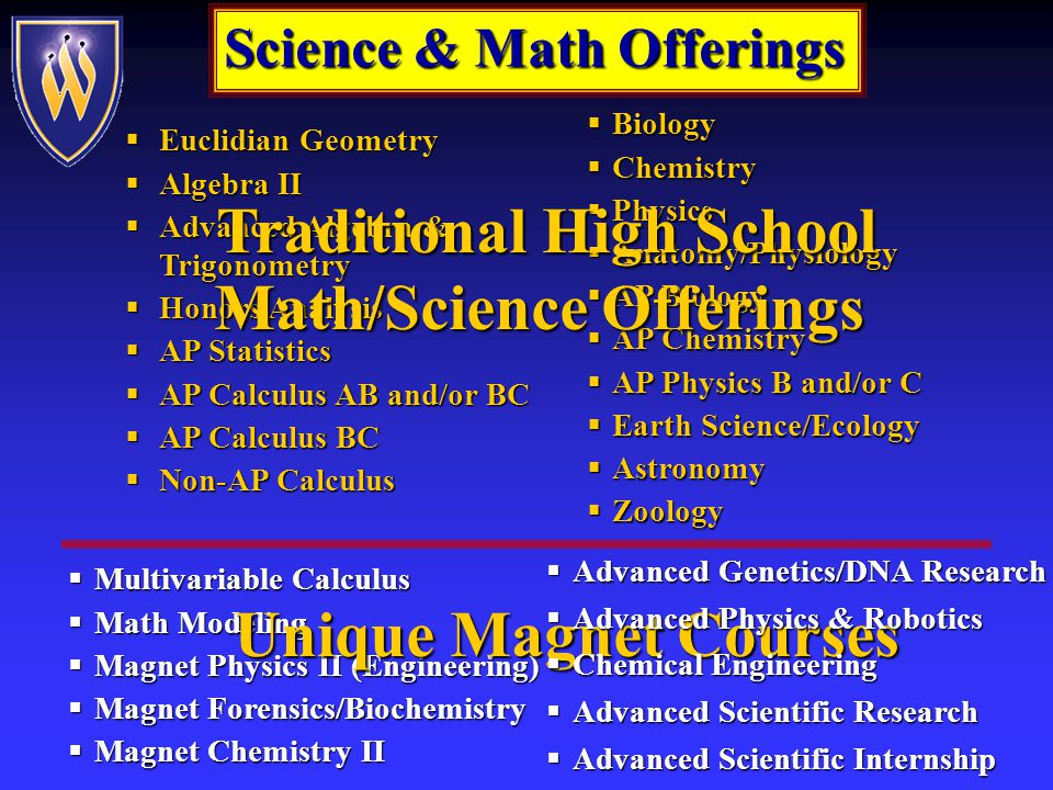 Science/Math Sequence Comparison Traditional Magnet Traditional Magnet 9 th Phys Science or BiologyBiology and Chemistry Algebra I or GeometryGeometry or Algebra II Algebra I or GeometryGeometry or Algebra II 10 th Biology or ChemistryPhysics and Chem II, Physics II, or Forensics/Biochemistry Geometry or Algebra IIAlgebra II, Analysis or Adv Alg/Trig 11 th Chemistry or PhysicsAP Science(s) and Post AP Science Algebra II, Analysis Analysis, Honors Calculus or AP or Adv Alg/Trig Calculus AB/BC 12 th AP Science ElectiveAdvanced Scientific Internship and Advanced Scientific Research AP CalculusMultivariable Calculus