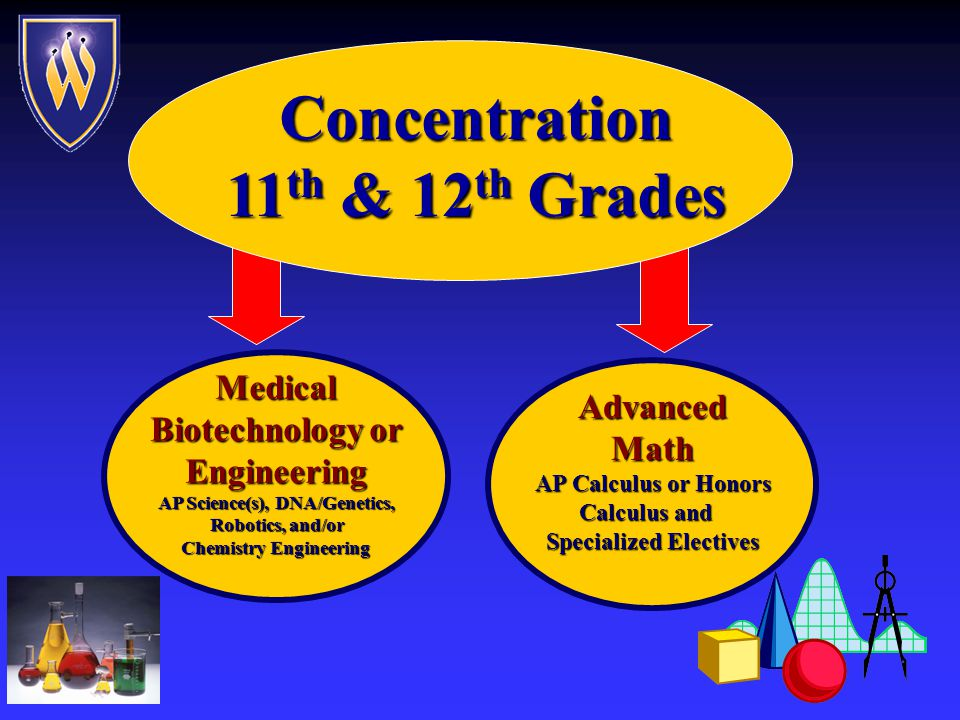 Core Curriculum 9th & 10th Grades 10 th Grade Magnet Physics & Biochemistry, Chem II, or Engineering Physics Magnet Math Technology Elective 9 th Grade Magnet Biology and Chemistry Magnet Math Magnet Foundations All other academic classes are taken in the Wheeler mainstream TechnologyIntegration