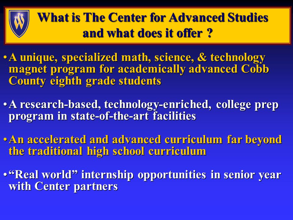 What makes the Center different than traditional high school programs.