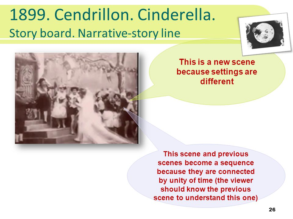 1899. Cendrillon. Cinderella. Story board. Narrative-story line 26 This is a new scene because settings are different This scene and previous scenes b