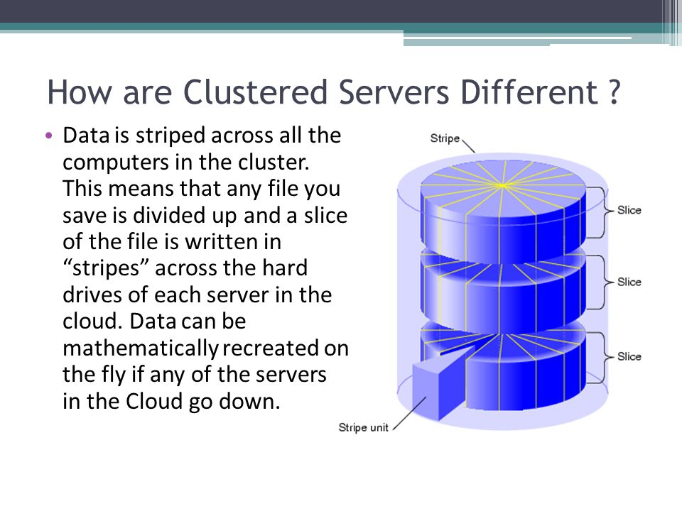Cloud Servers vs Server in your Office Fault tolerant data backup – striped data Highly available – access your data anywhere Rapid scalability –easily increase or decrease your server space and RAM.