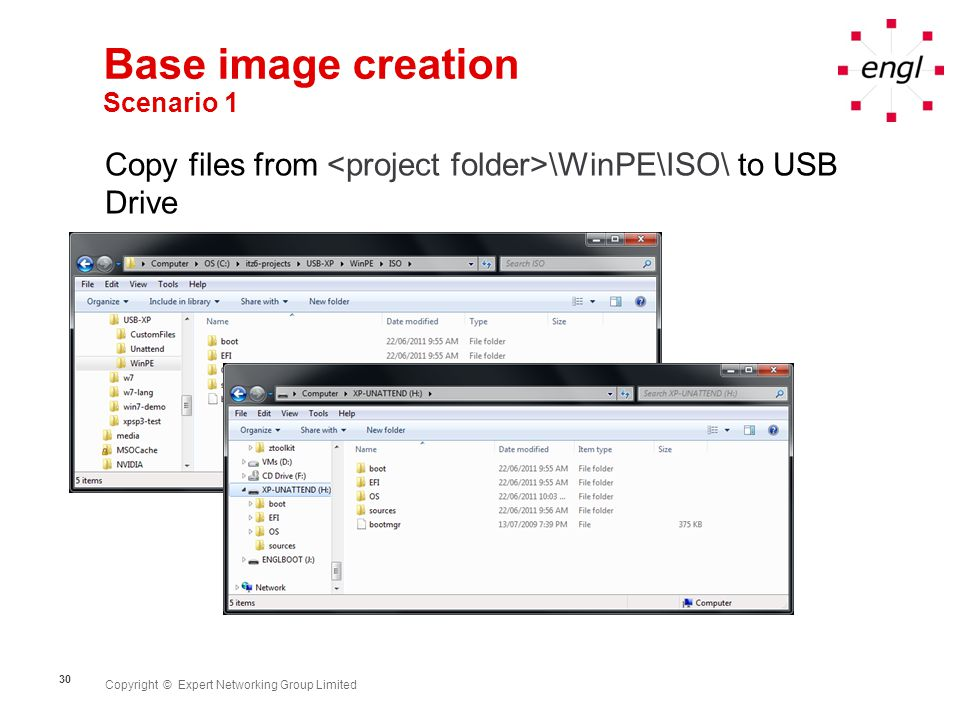 Copyright © Expert Networking Group Limited 30 Base image creation Scenario 1 Copy files from \WinPE\ISO\ to USB Drive