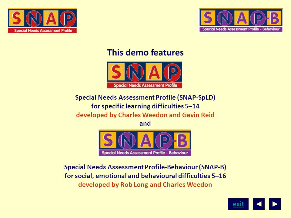exit This demo features Special Needs Assessment Profile (SNAP-SpLD) for specific learning difficulties 5–14 developed by Charles Weedon and Gavin Rei
