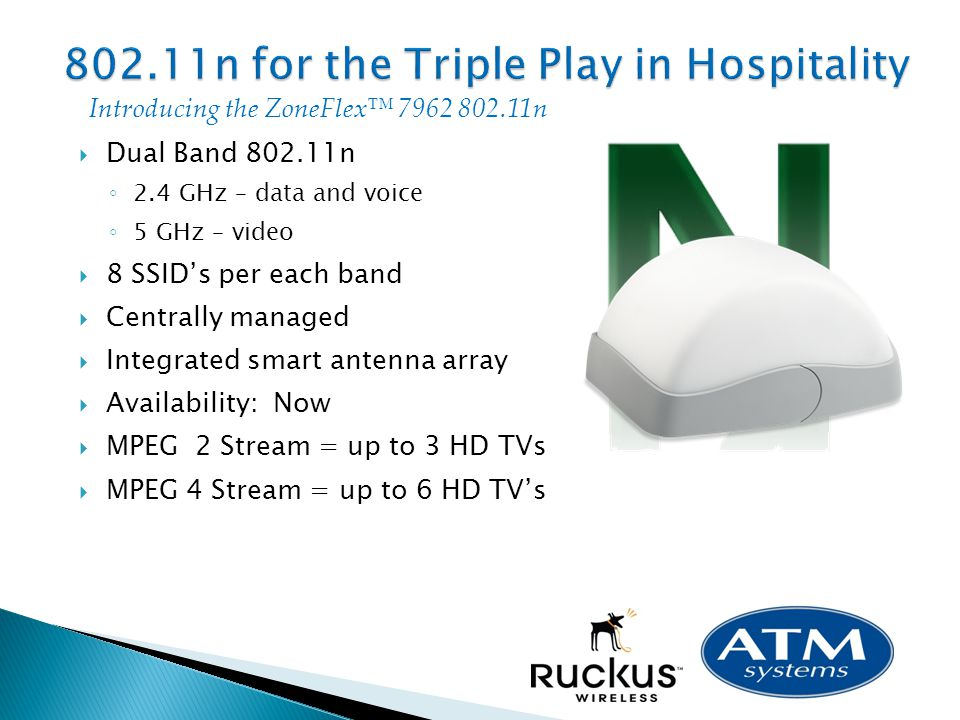 Dual Band 802.11n 2.4 GHz – data and voice 5 GHz – video 8 SSIDs per each band Centrally managed Integrated smart antenna array Availability: Now MPEG 2 Stream = up to 3 HD TVs MPEG 4 Stream = up to 6 HD TVs Introducing the ZoneFlex 7962 802.11n