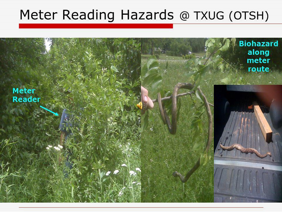 Meter Reading Hazards @ TXUG (OTSH) Meter Reader Biohazard along meter route