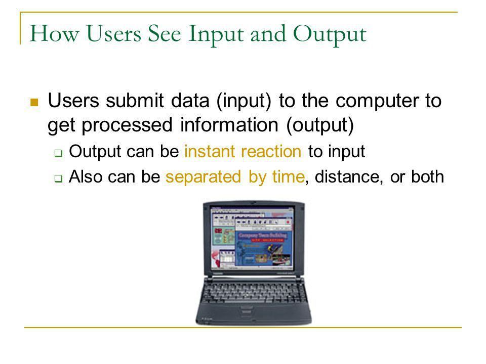 How Users See Input and Output Users submit data (input) to the computer to get processed information (output) Output can be instant reaction to input