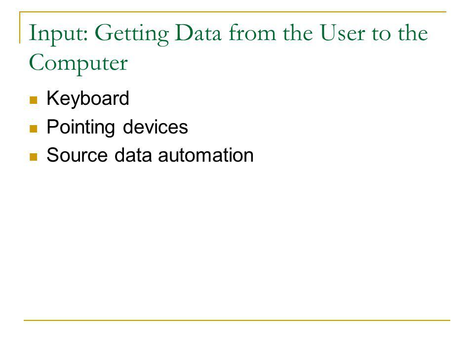 Input: Getting Data from the User to the Computer Keyboard Pointing devices Source data automation