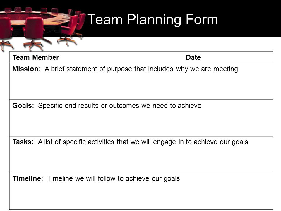 Team Planning Form Team Member Date Mission: A brief statement of purpose that includes why we are meeting Goals: Specific end results or outcomes we