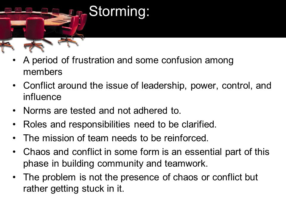 Storming: A period of frustration and some confusion among members Conflict around the issue of leadership, power, control, and influence Norms are te