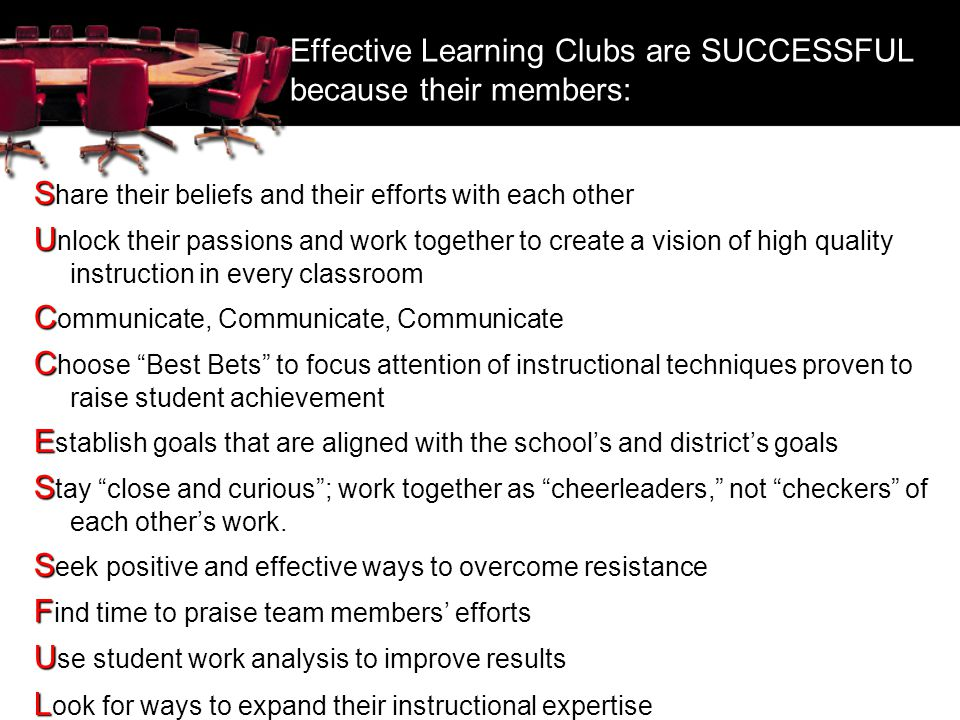 Effective Learning Clubs are SUCCESSFUL because their members: S S hare their beliefs and their efforts with each other U U nlock their passions and w