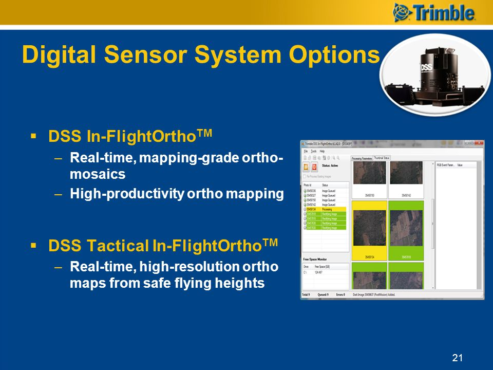 Digital Sensor System Options DSS In-FlightOrtho TM –Real-time, mapping-grade ortho- mosaics –High-productivity ortho mapping DSS Tactical In-FlightOr