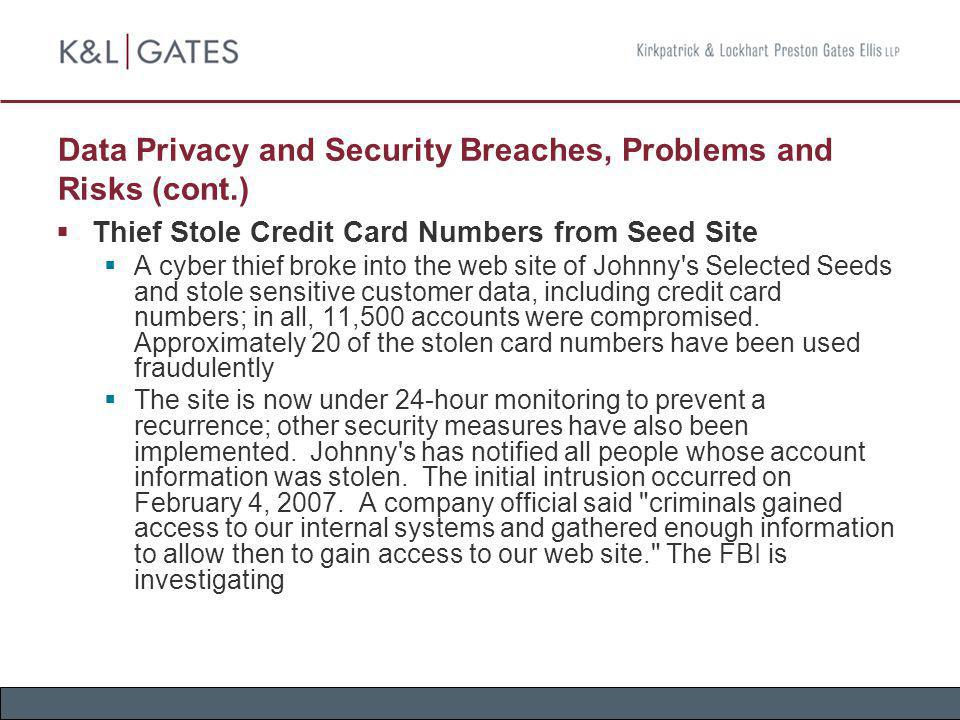 Data Privacy and Security Breaches, Problems and Risks (cont.) Thief Stole Credit Card Numbers from Seed Site A cyber thief broke into the web site of
