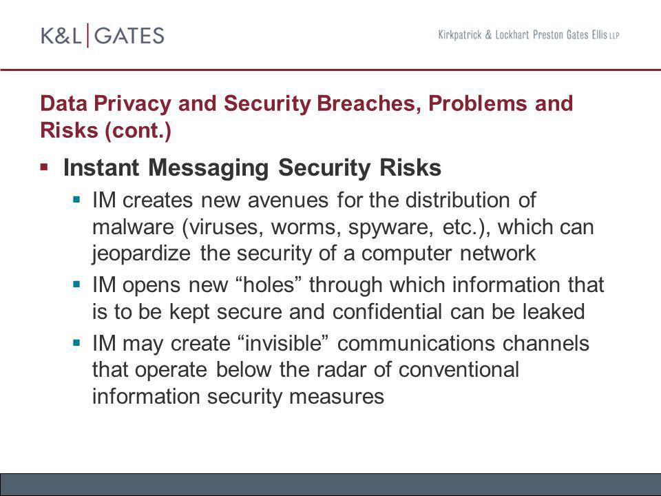 Data Privacy and Security Breaches, Problems and Risks (cont.) Instant Messaging Security Risks IM creates new avenues for the distribution of malware