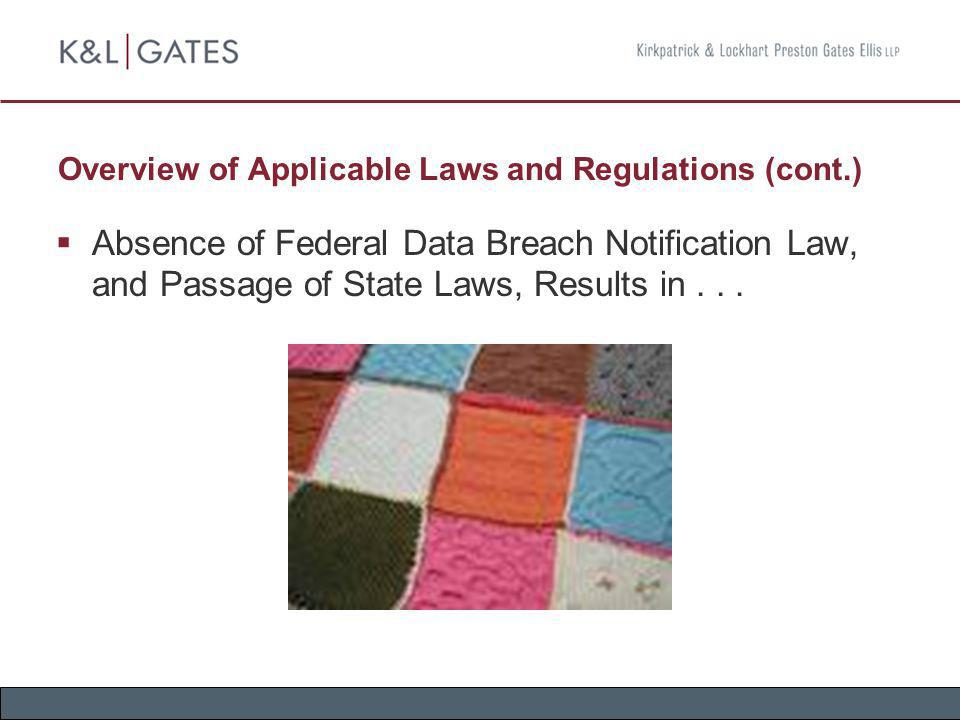 Overview of Applicable Laws and Regulations (cont.) Absence of Federal Data Breach Notification Law, and Passage of State Laws, Results in...
