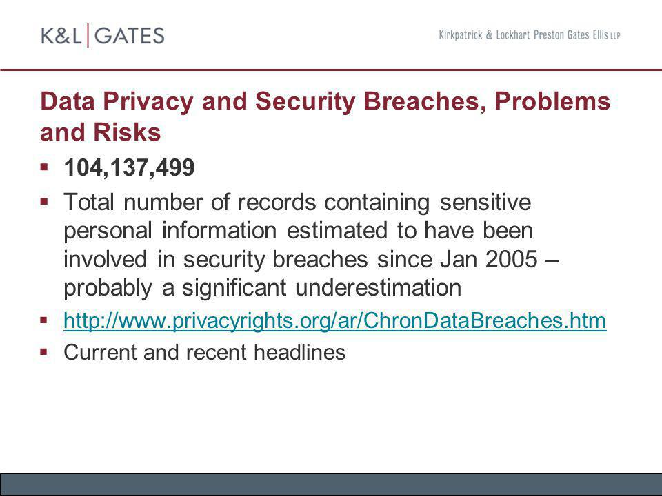 Data Privacy and Security Breaches, Problems and Risks (cont.) TJX Says Data Breach Worse than Previously Believed Ongoing probe shows it happened almost a year earlier than first thought, as far back as July 2005 TJX still hasn t disclosed the number of shoppers that may have been affected by the breach; analysts believe the number to be in the tens of millions Comerica Bank is reissuing cards to its customers whose account information was compromised in the TJX breach