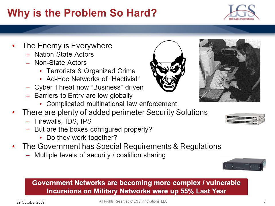 6All Rights Reserved © LGS Innovations, LLC 29 October 2009 Why is the Problem So Hard? The Enemy is Everywhere –Nation-State Actors –Non-State Actors
