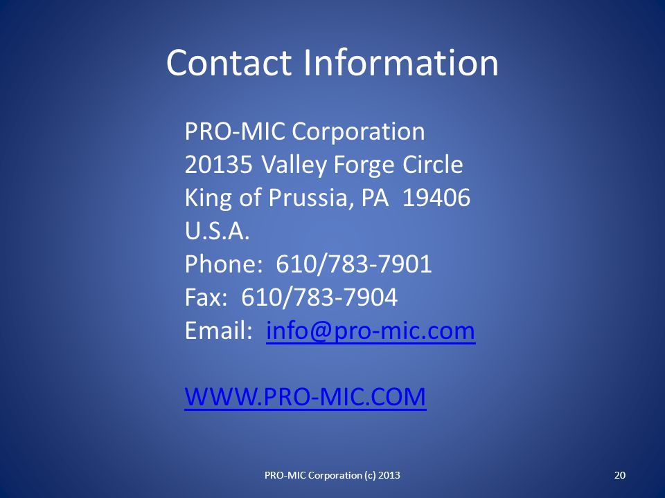 Special PRO-MIC Systems 19PRO-MIC Corporation (c) 2013