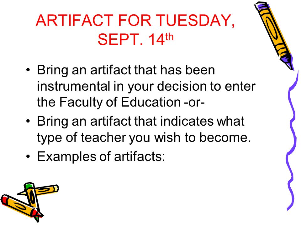 ARTIFACT FOR TUESDAY, SEPT.
