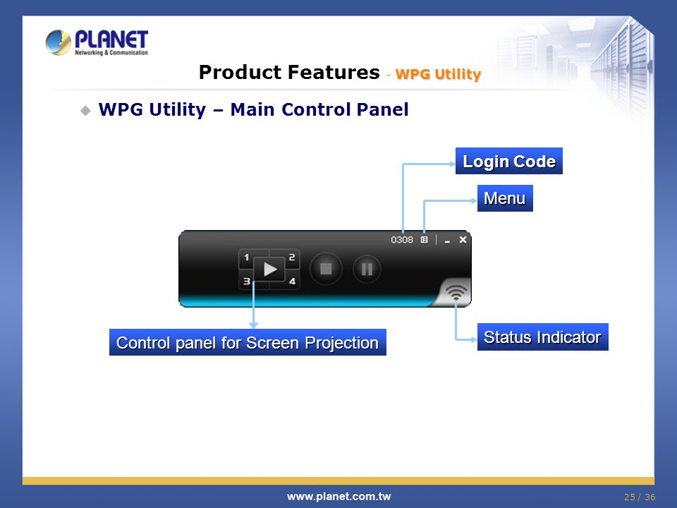25 / 36 WPG Utility Product Features - WPG Utility WPG Utility – Main Control Panel Control panel for Screen Projection Status Indicator Login Code Me