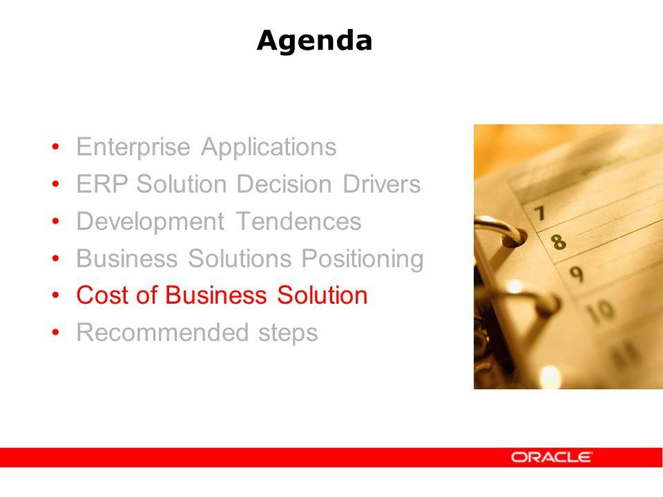 Agenda Enterprise Applications ERP Solution Decision Drivers Development Tendences Business Solutions Positioning Cost of Business Solution Recommended steps