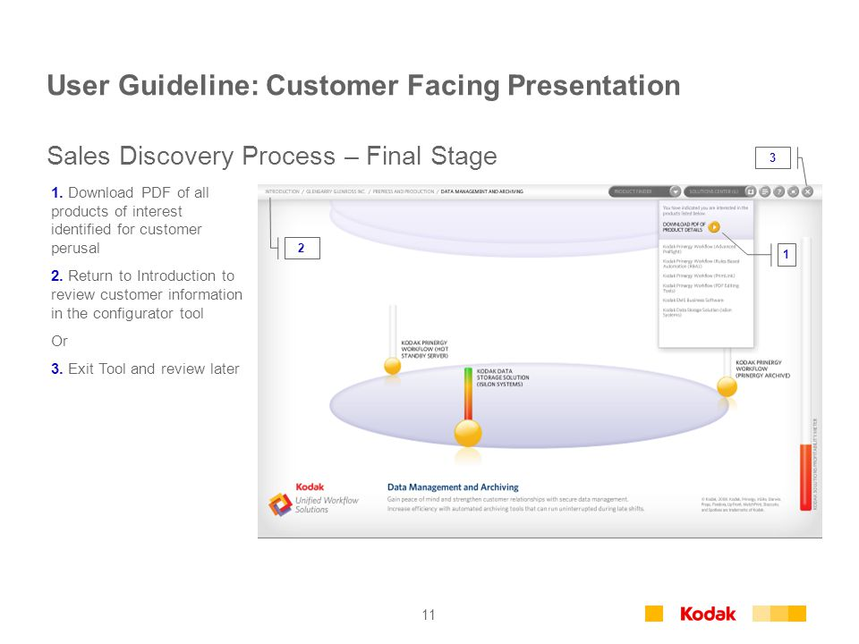11 User Guideline: Customer Facing Presentation 1. Download PDF of all products of interest identified for customer perusal 2. Return to Introduction