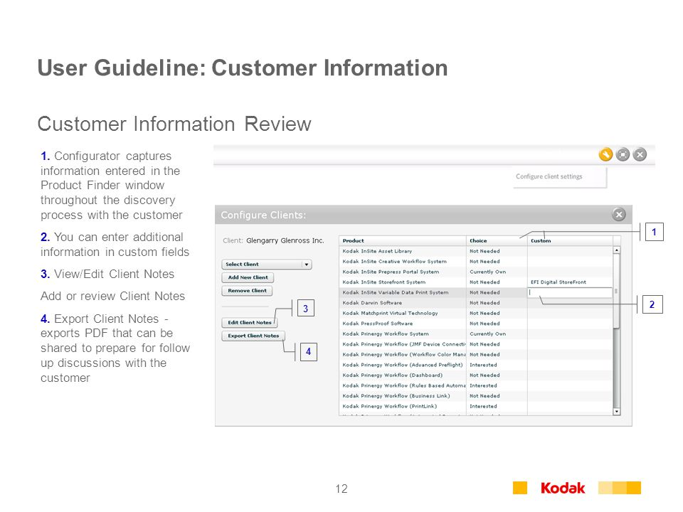 12 User Guideline: Customer Information 1.