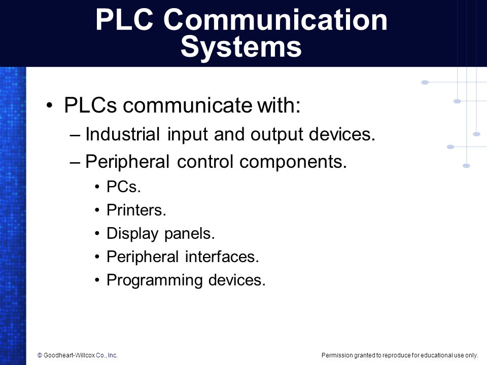 Permission granted to reproduce for educational use only.© Goodheart-Willcox Co., Inc. PLC Communication Systems PLCs communicate with: –Industrial in