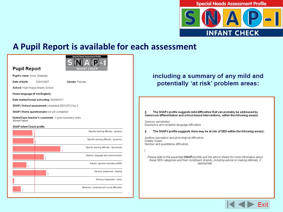 A Pupil Report is available for each assessment including a summary of any mild and potentially at risk problem areas: Exit