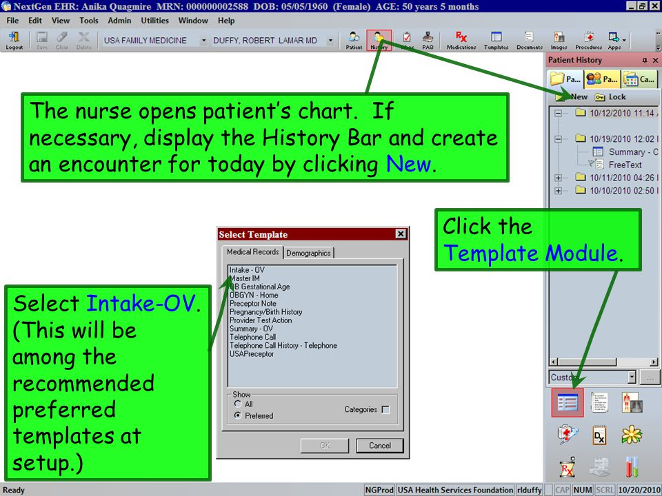Click the Template Module.Select Intake-OV.
