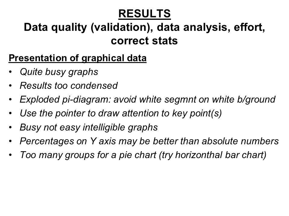 RESULTS Data quality (validation), data analysis, effort, correct stats Presentation of graphical data Quite busy graphs Results too condensed Explode