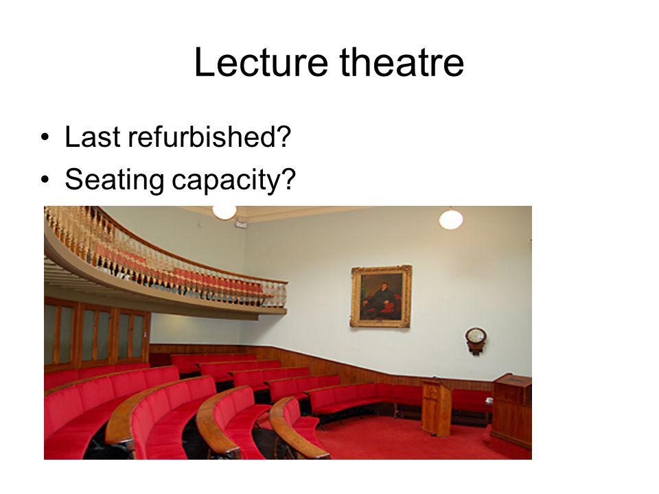 Lecture theatre Last refurbished Seating capacity