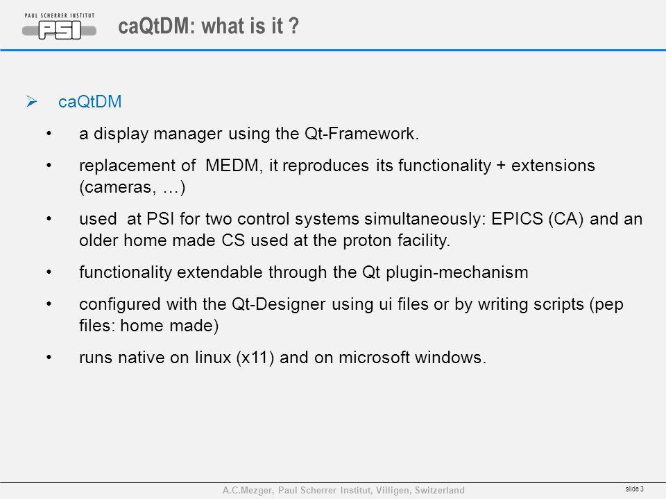 A.C.Mezger, Paul Scherrer Institut, Villigen, Switzerland caQtDM: what is it .