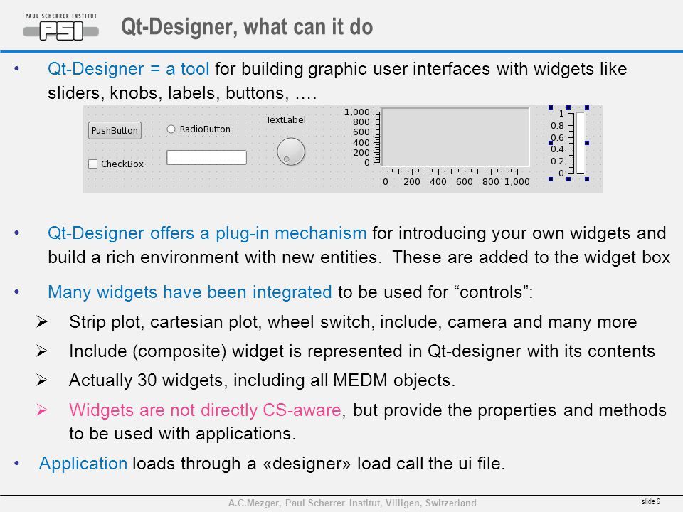 A.C.Mezger, Paul Scherrer Institut, Villigen, Switzerland Qt-Designer, what can it do Qt-Designer = a tool for building graphic user interfaces with widgets like sliders, knobs, labels, buttons, ….