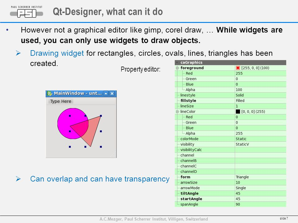 A.C.Mezger, Paul Scherrer Institut, Villigen, Switzerland Qt-Designer, what can it do However not a graphical editor like gimp, corel draw, … While wi