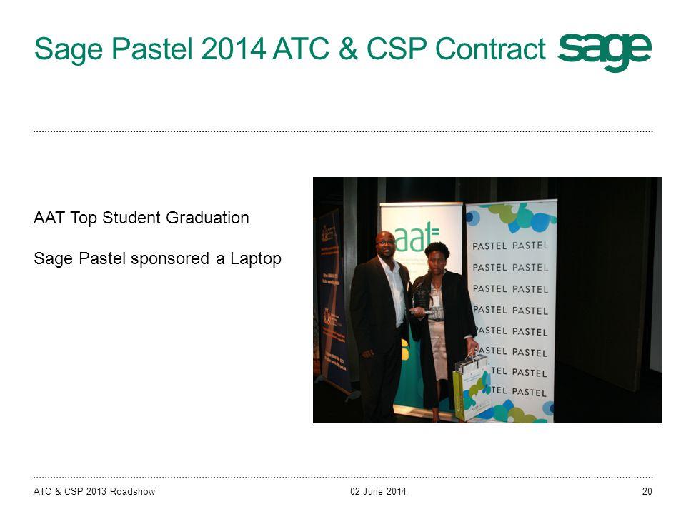 Sage Pastel 2014 ATC & CSP Contract 02 June 2014ATC & CSP 2013 Roadshow AAT Top Student Graduation Sage Pastel sponsored a Laptop 20