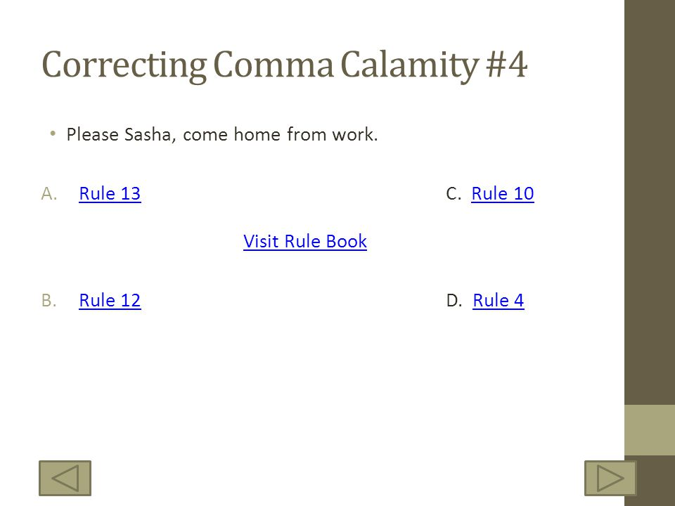 Correcting Comma Calamity #4 Please Sasha, come home from work.