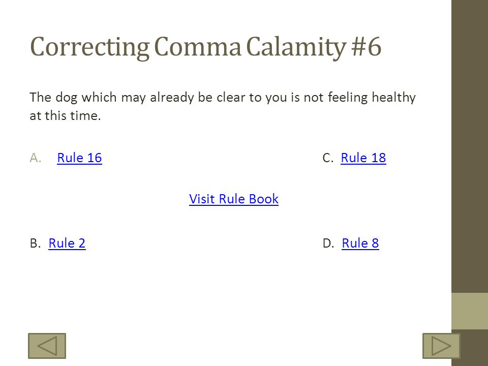 Correcting Comma Calamity #6 The dog which may already be clear to you is not feeling healthy at this time. A.Rule 16C. Rule 18Rule 16Rule 18 B. Rule