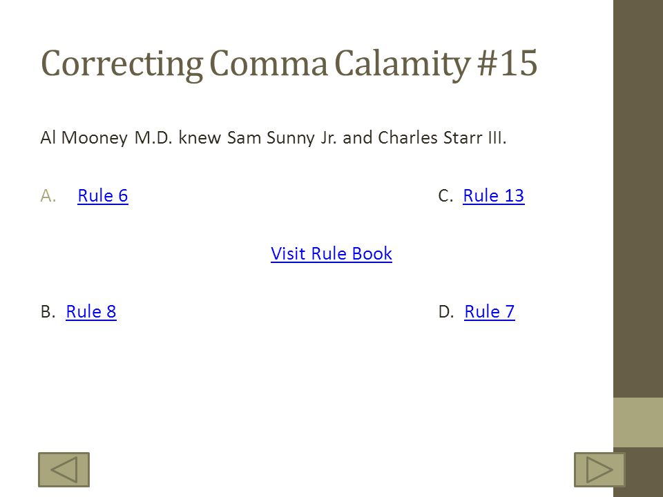 Correcting Comma Calamity #15 Al Mooney M.D. knew Sam Sunny Jr.