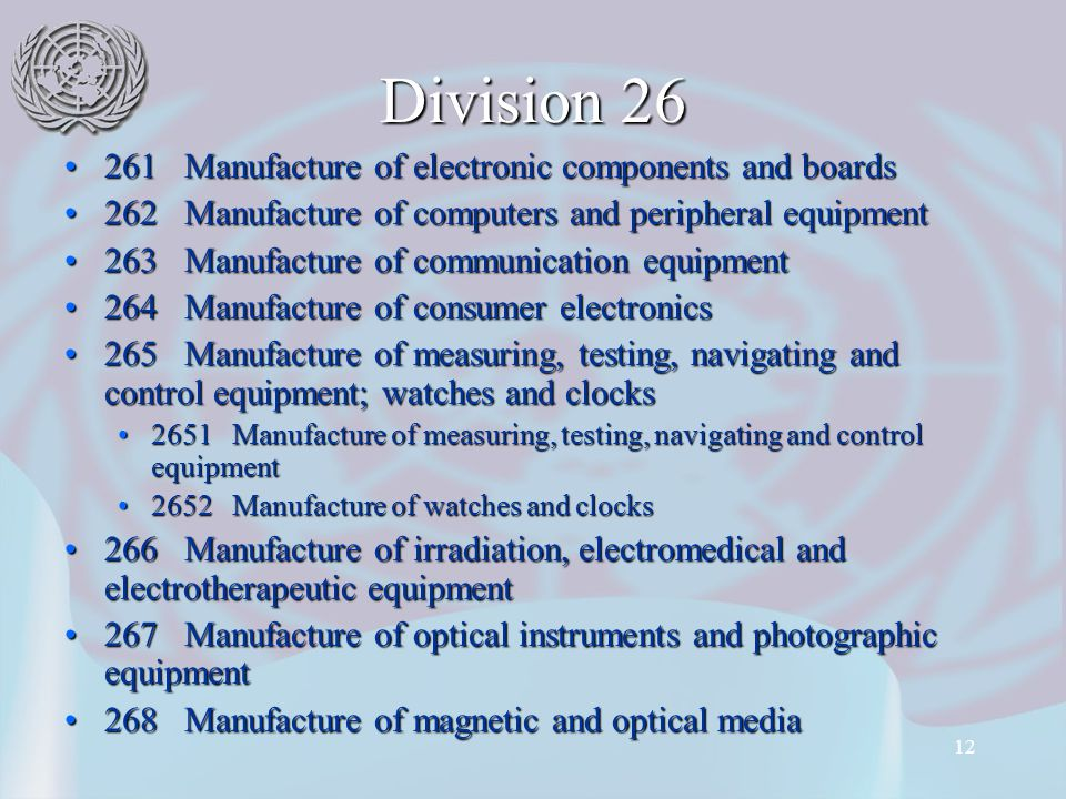 12 Division 26 261 Manufacture of electronic components and boards261 Manufacture of electronic components and boards 262 Manufacture of computers and peripheral equipment262 Manufacture of computers and peripheral equipment 263 Manufacture of communication equipment263 Manufacture of communication equipment 264 Manufacture of consumer electronics264 Manufacture of consumer electronics 265 Manufacture of measuring, testing, navigating and control equipment; watches and clocks265 Manufacture of measuring, testing, navigating and control equipment; watches and clocks 2651 Manufacture of measuring, testing, navigating and control equipment2651 Manufacture of measuring, testing, navigating and control equipment 2652 Manufacture of watches and clocks2652 Manufacture of watches and clocks 266 Manufacture of irradiation, electromedical and electrotherapeutic equipment266 Manufacture of irradiation, electromedical and electrotherapeutic equipment 267 Manufacture of optical instruments and photographic equipment267 Manufacture of optical instruments and photographic equipment 268 Manufacture of magnetic and optical media268 Manufacture of magnetic and optical media