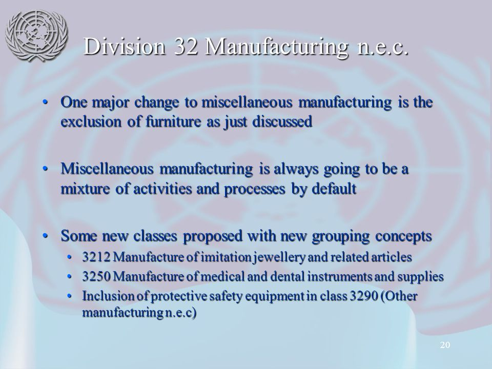 20 Division 32 Manufacturing n.e.c.
