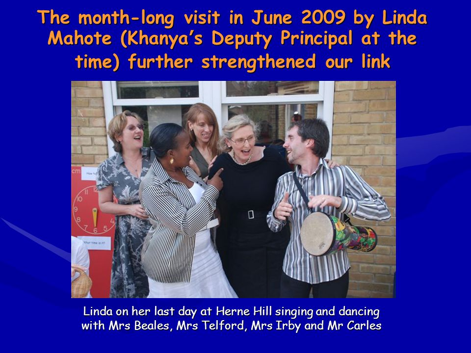 Linda on her last day at Herne Hill singing and dancing with Mrs Beales, Mrs Telford, Mrs Irby and Mr Carles Linda on her last day at Herne Hill singi